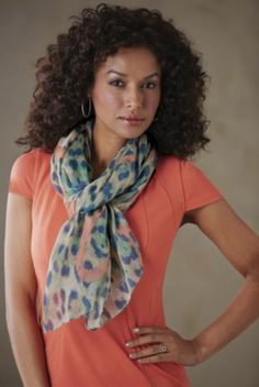 Animal Print/Hearts Scarf from Midnight Velvet.   Energetically sketched hearts in peach add a playful note to this animal print scarf in teal, navy and natural.