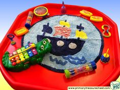 Pirates - Pirate Ship Themed Sensory Toys Multi-sensory - Instruments Tuff Tray Ideas and Activities Tuff Spot, Tuff Tray, Water Play, Pirate Theme, Sensory Toys, Eyfs, Mark Making, Elementary Schools, Pirates