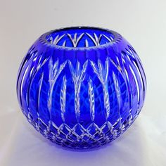 Large cut to clear cobalt blue Bohemian glass center bowl, excellent