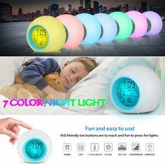 7 Color LED Change Digital Glowing Alarm Clock Night Light for Bedroom Child Kid Kids Clocks, Clock For Kids, Best Alarm, Lead Change, Body Shower, Body Brushing, Alarm Clock, Night Light, Gifts For Kids