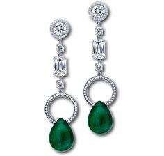 Pear Shape Emerald & Diamond Drop Earrings