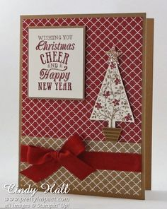 SU! Festival of Trees and Christmas Messages (retired) stamp sets; Tree punch; colors are Cherry Cobbler, Very Vanilla and Baked Brown Sugar; Regals and 2013-2015 DSP prints - Cindy Hall