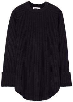 NAVY RIBBED CURVE SWEATER WITH OVERSIZE CUFF c1f36491c