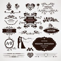 Ilration Of Design Elements And Calligraphic Page Decorations For Wedding Vector Art Clipart Stock Vectors