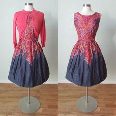 Vintage Summer Dresses, 50s Dresses, Cotton Dresses, Vintage Outfits, Vintage Fashion, Pleated Bodice, Vintage Tops, Clothing Items, 1950s