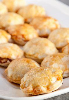 Miniature apple pie puffs with homemade caramel sauce