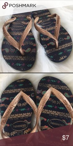 Girls Havainas Flip Flops 9/10 Price firm 🌸 Why pay more! Seriously! Shop on Poshmark! Havaianas Shoes Slippers