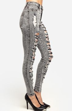 Shredded Acid Wash Jeans