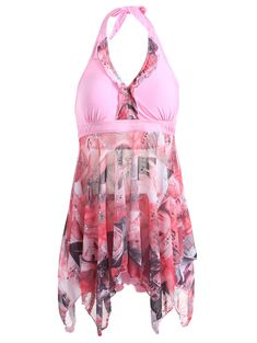 Love Pink! Plus Size Women's Halter Printed High Low One Piece Swimwear