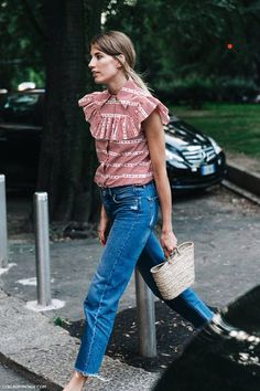 Jeans, basket and THAT blouse