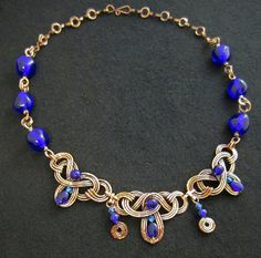 Absolutely gorgeous, Copper Celtic-Style Necklace with cobalt blue vintage glass beads
