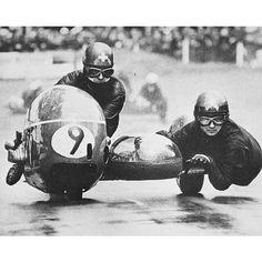 Fritz Scheidigger and John Robinson aboard BMW. Photo by Brian Holder. European Motorcycles, Racing Motorcycles, Vintage Motorcycles, Cafe Racing, Road Racing, Manx, Bugatti, Indian Motorbike, Moto Scooter