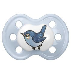 Glittering Blue Birdie on BooginHead® Custom Pacifier (0-6 Months). Designed by Liz Molnar. $13.30 #baby