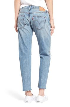Junior Women's Levi's '501 CT' Crop Distressed Boyfriend Jeans (Time Gone By)