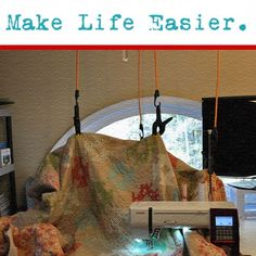 Domestic Machine Quilters: make a quilt suspension system for under $30 and in 20 minutes that will take the drag and weight off when you freemotion quilt. I can't believe how smooth my quilting is now!