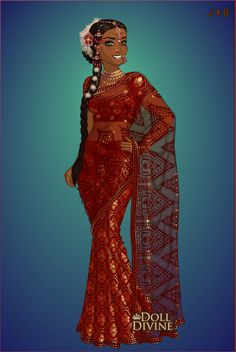 Create your own Indian sari! I finally finished the Sari Maker guys. It's the first Doll Divine Classic in a while. Black Disney Princess, Disney Princess Fashion, Princes Dress, Photo To Cartoon, African Princess, 3d Model Character, Doll Divine, Hindu Festivals, India Art