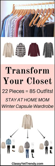 Stay At Home Capsule Wardrobe Winter 2017 e-Book: all the casual and comfortable, yet functional outfits for the winter season, like a hoodie, sweatshirt, yoga pants, leggings, sweater, plaid shirt, tunic top, jegging jeans and skinny jeans.