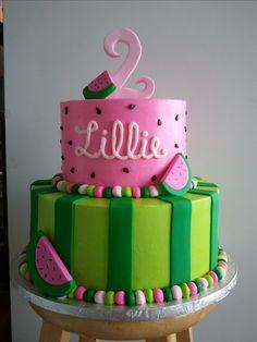 watermelon birthday cake. | Kenzie Bday Party ideas | Pinterest