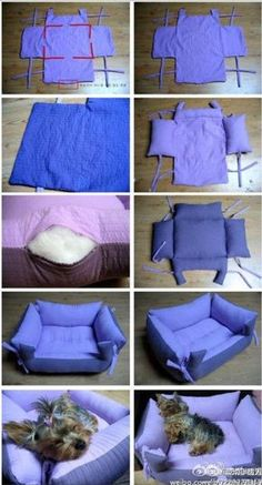 Find Pillow Pet Beds and more for your furbaby. We've included a doggy sweater and a denim jeans pet lap plus the best diy pillow pet beds.The cutest DIY pet bed ideas that are sure to make your favorite fur babies happy. See the best designs for 201 Diy Dog Bed, Diy Bed, Diy Pour Chien, Sewing Crafts, Sewing Projects, Sewing Ideas, Dog Crate, Dog Behavior, Pet Beds