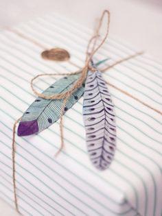 wrappng 紙の羽のギフトラップDIY