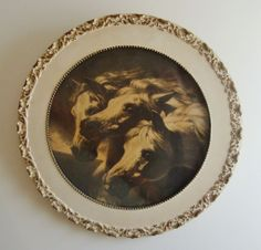 Antique 19c Victorian Black & White Pharaoh's Horses Print in Ornate Wood Picture Frame