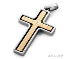 Kreuz Anhänger EDELSTAHL gold & silber Bibel Text  inkl....