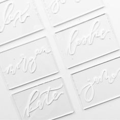 white calligraphy on acrylic