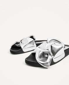super popular bde87 207c0 Image 7 of SLIDES WITH SILVER-TONED BOW from Zara Bows, Silver, Zara