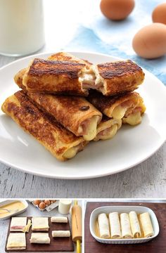 Ham & Cheese French Toast Sandwiches: you can eat with your hands and tastes like ham and cheese toasties. Easy, fast and can make ahead. up snacks herzhaft Ham and Cheese French Toast Roll Ups Cheese Toasties, Ham And Cheese Toastie, Ham And Cheese Roll Ups, French Toast Roll Ups, French Toast With Cheese, Stuffed French Toast, Cinnamon French Toast, Recipetin Eats, Snacks