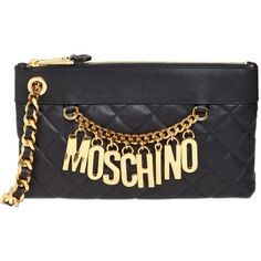 MOSCHINO Quilted Nappa Leather Clutch (1.370 BRL) ❤ liked on Polyvore featuring bags, handbags, clutches, moschino, moschino purse, quilted handbags, moschino handbags and quilted chain purse