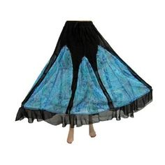 """Bollywood Fashion Women Skirt Georgette Black Blue Printed Long Skirts 36"""" (Apparel)  http://www.amazon.com/dp/B00763S9Z2/?tag=http://howtogetfaster.co.uk/jenks.php?p=B00763S9Z2  B00763S9Z2"""