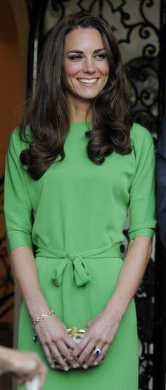 Kate Middleton in a green Diane von Furstenberg dress