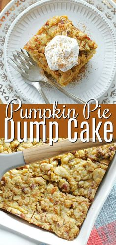 Pumpkin Pie Dump Cake has a cake layer on the bottom, a pumpkin pie filling in the middle and is stopped with a pecan streussel. Fun Baking Recipes, Easy Cake Recipes, Dessert Recipes, Dinner Recipes, Desserts, Easy Thanksgiving Recipes, Holiday Recipes, Thanksgiving Table, Quick Cake