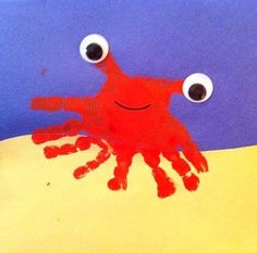 Crab hand print craft- make after our Sept. field trip to Canoe Cove!