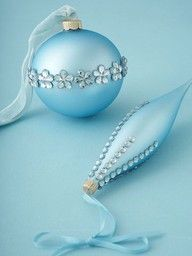 Turn old or dollar store plain balls into fancy with a little bling !!