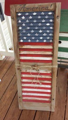 Hand painted Americana shutter
