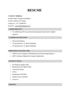 Career Objective For Resume For Fresher Teacher Resume Template
