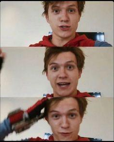 He is soo cute!! #spiderman #spidermanhomecoming #tomholland #trailer