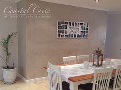 Coastal Crete Flooring | Cinnamon Colour Wall Plaster | Decorative Wall Finish Decor, Screed Floors, Plaster Walls, Wall Colors, Home Decor, Cement Floor, Flooring, Floor Colors, Wall Finishes