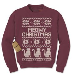 Crewneck Meowy Christmas Long Sleeve Holiday by XpressionTees