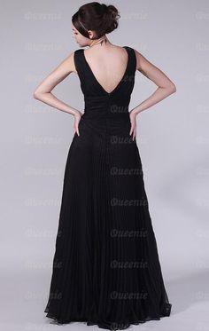 Fantastisches bodenlanges schwarzes Chiffon Ballkleid Abendkleid LFNAC0067-Queeniekleid.de