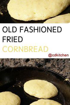 Old Fashioned Fried Cornbread - Recipe is made with water, cornmeal, salt, sugar, lard | CDKitchen.com