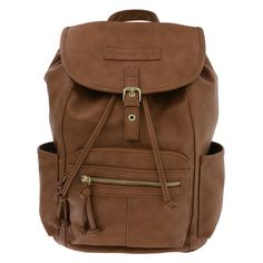 "The Elza Backpack from American Eagle will help you along any journey. It features a tumbled outer, two open side pockets and two zippered front pockets, hanging loop, adjustable shoulder straps, snap and drawstring close, and a lined interior with two side pockets and one zippered pocket. 15""HX13""WX6""D. Shell: 100% Vinyl. Interior: 100% Polyester."