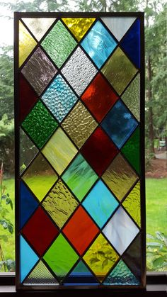 Stained Glass Diamond Panel - Rainbow of Colors Suncatcher Window Stained Glass Door, Stained Glass Designs, Stained Glass Panels, Stained Glass Projects, Stained Glass Patterns, Broken Glass Art, Sea Glass Art, Mosaic Glass, Mosaic Mirrors