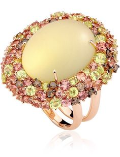 Brumani Baobab ring with a lemon quartz and multicoloured gemstones, ht