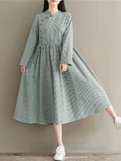 Hot saleVintage Stripe Drawstring Waist Button Long Sleeve Women Dresses Cheap -… – Fashion and Street Styles on Internet Stylish Dresses For Girls, Stylish Dress Designs, Designs For Dresses, Cute Dresses, Casual Dresses, Girls Dresses, Pakistani Fashion Casual, Pakistani Dresses Casual, Pakistani Dress Design