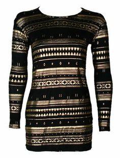 gold black foil print aztec shirt