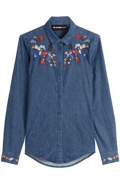 Chemise en jean avec fleurs brodes detail 0