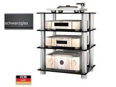 VCM HIFI-Möbel Musino Schwarzglas Aluminium HIFI Regal