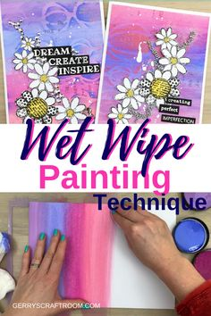 Wet wipe painting is a super fun and easy technique and also very doable for beginner crafters. It's a great way to make a background as a start for cards.You'll see it all in the video tutorial. #gerryscraftroom #paintingtechnique #papercrafting #cardmaking #cards #diycards #papercrafting #acrylicpaint #papercraftingcards #wetwipepainting #videotutorial  #cardtutorials